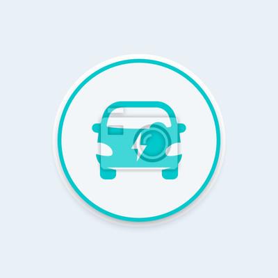 Elektrische auto runde symbol, ev, elektrofahrzeug vektor-zeichen ...