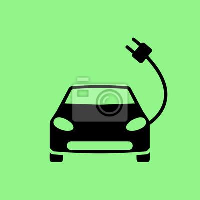 Elektrische auto-symbol fototapete • fototapeten Batterie, Hybrid ...