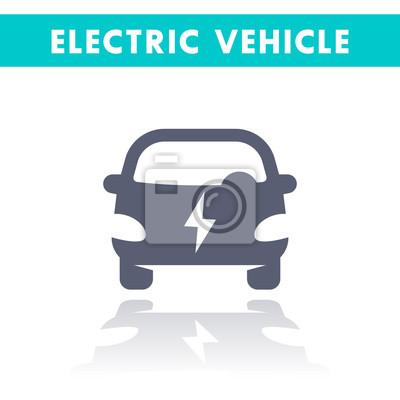 Elektrische auto-symbol, ev, elektrofahrzeug vektor-zeichen isoliert ...