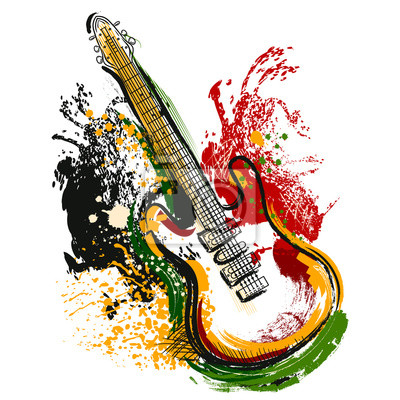 Elektrische gitarre. hand gezeichneten grunge art art. retro-banner ...