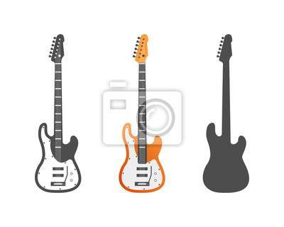 Elektrische gitarren vektor-icons gesetzt. gitarre isoliert symbole ...