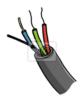 Elektrische, kabel draht / cartoon vektor und illustration, hand ...