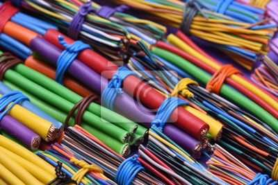 Elektrische kabel und draht close up, computer und elektrische ...