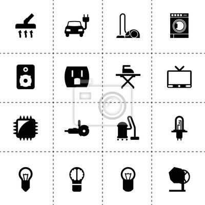 Elektrische symbole. vektor-sammlung gefüllt elektrische symbole ...