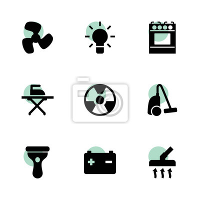 Fototapete: Elektrische symbole. vektorsammlung füllte die elektrischen eingestellten