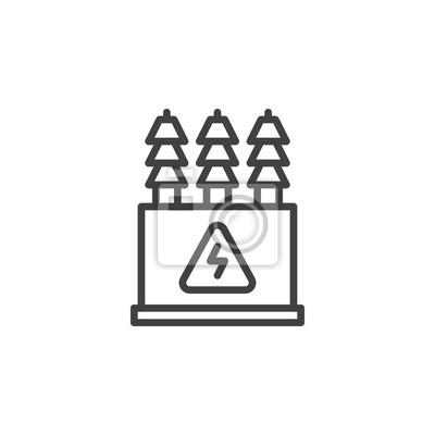Elektrische transformatorlinie ikone, entwurfsvektorzeichen ...