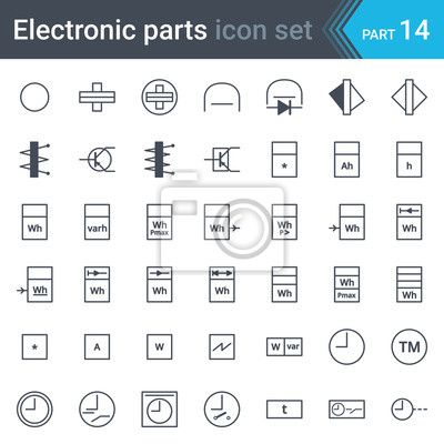 Elektrische und elektronische schaltplan symbole satz von ...
