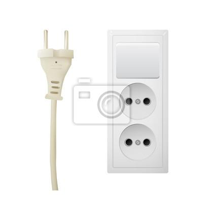 Elektrischer Adapter Mit Zwei Anschlüssen Und Schalter Steckdose