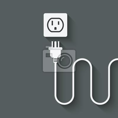 Elektrischer draht mit stecker in der nähe steckdose fototapete ...