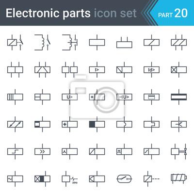 Elektrischer symbolsatz von relais und elektromagneten fototapete ...