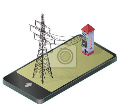 Elektrischer transformator isometrisches gebäude im mobiltelefon ...