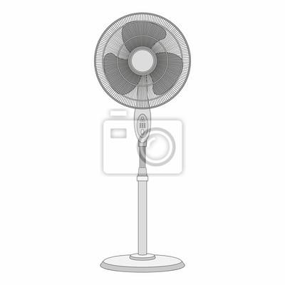 Elektrischer ventilator getrennt auf weißem hintergrund fototapete ...