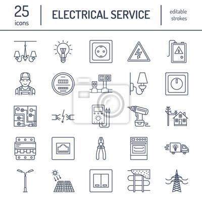 Elektrizität engineering vektor flache linie symbole. elektrische ...