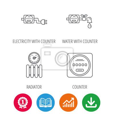 Elektrizität, kühler und wasserzähler symbole. zähler lineare ...