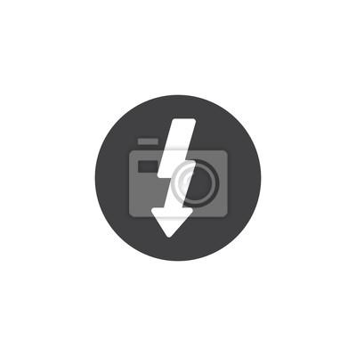 Elektrizitätszeichen-ikonenvektor, gefülltes flaches zeichen ...