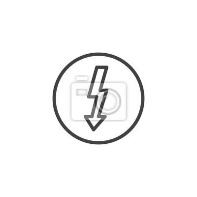 Elektrizitätszeichenlinie ikone, entwurfsvektorzeichen, lineares ...