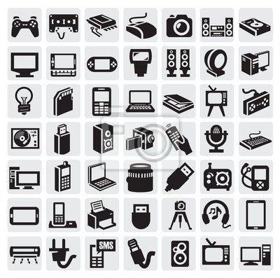 Elektronische geräte symbole fototapete • fototapeten tv ...