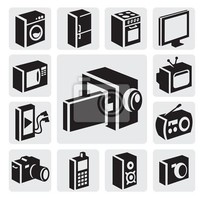 Elektronische geräte symbole fototapete • fototapeten Mikrowelle ...