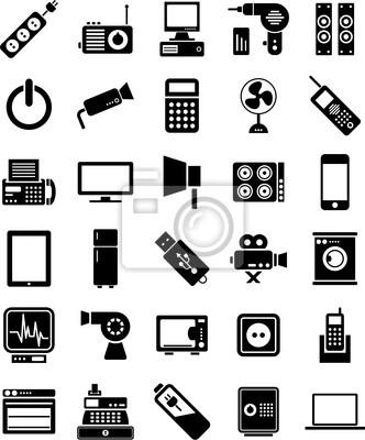 Elektronische geräte symbole fototapete • fototapeten Mechanismen ...