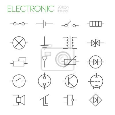 Elektronische komponenten zeile grau symbole fototapete ...