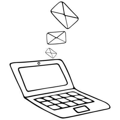 Email and laptop. Letters in an envelope. Vector illustration. Contour on an isolated white background. Doodle style. Sketch. Email message to the recipient. Newsletter. Space for text on screen.