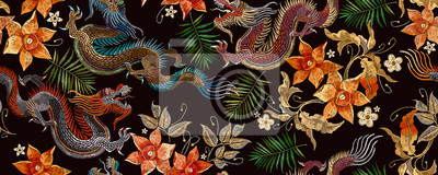 Fototapete Embroidery asian dragon and beautiful yellow daffodils flowers seamless pattern. Oriental style. Japan and China art