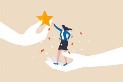 Fototapete Employee success recognition, encourage and motivate best performance, cheering or honor on success or achievement concept, winning confidence businesswoman standing on big hand getting star reward.