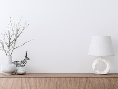 Fototapete Empty interior white paint wall with wooden cabinet 3d render decorate with white ceramic vase and marble lamp