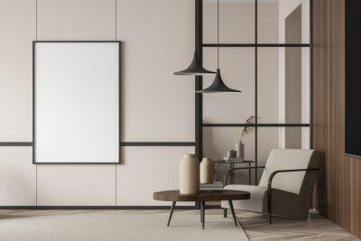 Fototapete Empty living room canvas near single beige armchair