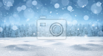 Fototapete Empty panoramic winter background with copy space