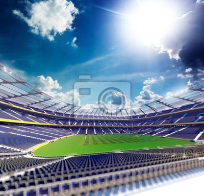 Empty soccer stadium in sunlight