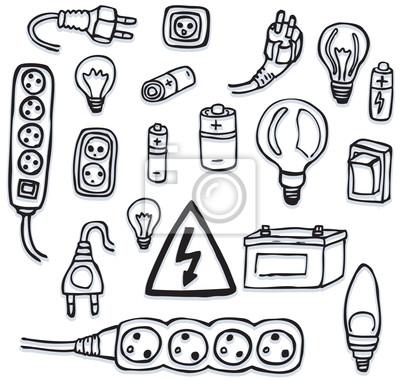 Energie und elektrische symbole fototapete • fototapeten Buchse ...