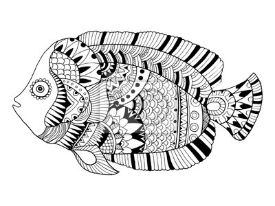 Engel fisch färbung buch vektor-illustration fototapete ...
