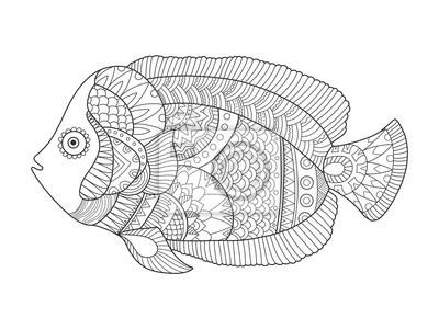 Engel Fisch Färbung Buch Vektor-Illustration
