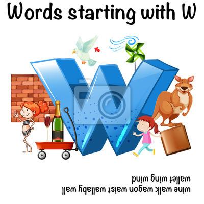 Englisch arbeitsblatt für wörter beginnend mit w fototapete ...