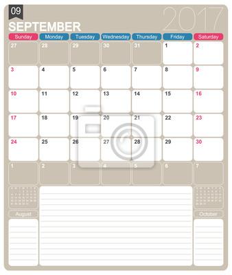 Englisch kalender 2017 / september 2017, englisch druckbare ...