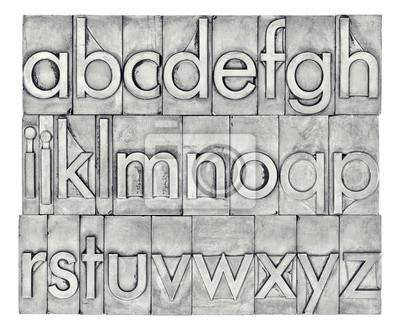 Englisches Alphabet im Buchdruck Metalltyp
