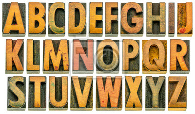 English alphabet in wood type isolated