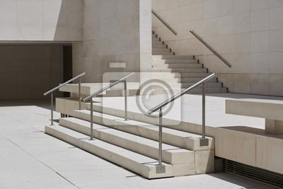 Entrada Arquitectónica Minimalistila Limpia Con Escaleras Dobles