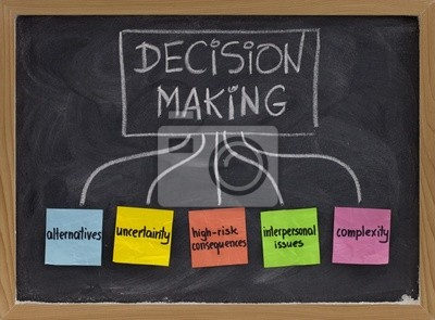 Entscheidungsfindung Konzept auf Tafel
