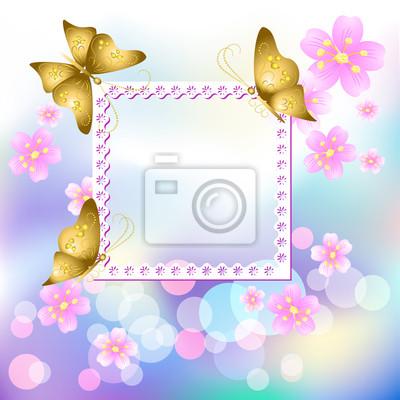 Blumen Bilderrahmen entwerfen bilderrahmen mit blumen und schmetterling fototapete