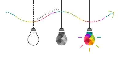 Fototapete Entwicklung von Kreativität Konzept mit bunten Glühbirne in das Ende