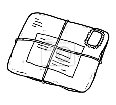 Fototapete envelope / cartoon vector and illustration, black and white, hand drawn, sketch style, isolated on white background.