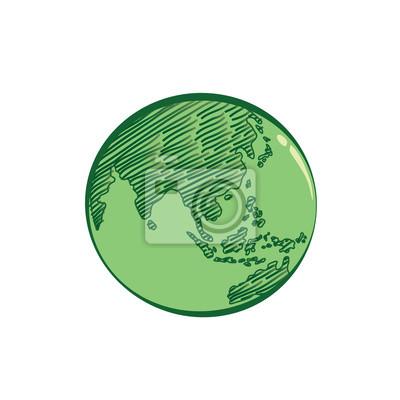 Erd-symbol handgezeichnet in grüner farbe auf weißem hintergrund ...