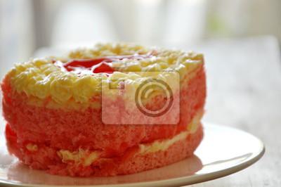 Erdbeer Butter Kuchen Verzieren Roten Herzen Auf Teller Fototapete