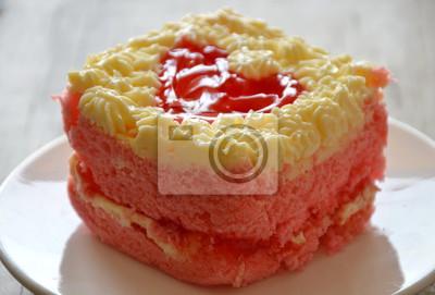Erdbeere Butter Kuchen Verzieren Roten Herzen Fur Valentinstag