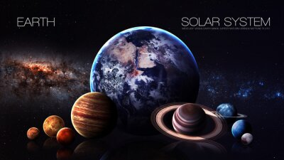 Fototapete Erde - 5K Auflösung Infographic präsentiert eine der Sonnensystem-Planeten. Diese Bildelemente von der NASA