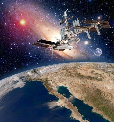 Fototapete Erde Satelliten-Astronomie internationalen Raumstation Iss Meteorologie Milchstraße Galaxie. Elemente dieses Bildes von der NASA eingerichtet.
