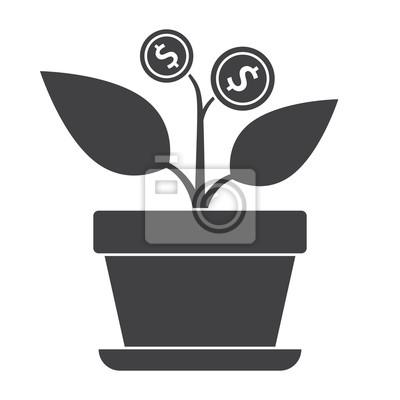 Erfolgreiches investitionskonzept mit heimpflanze im blumentopf ...