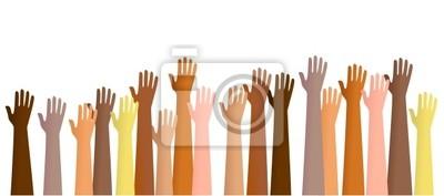 erhobenen Händen